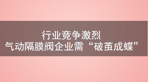 """行业竞争激烈 气动隔膜阀企业需""""破茧成蝶"""""""