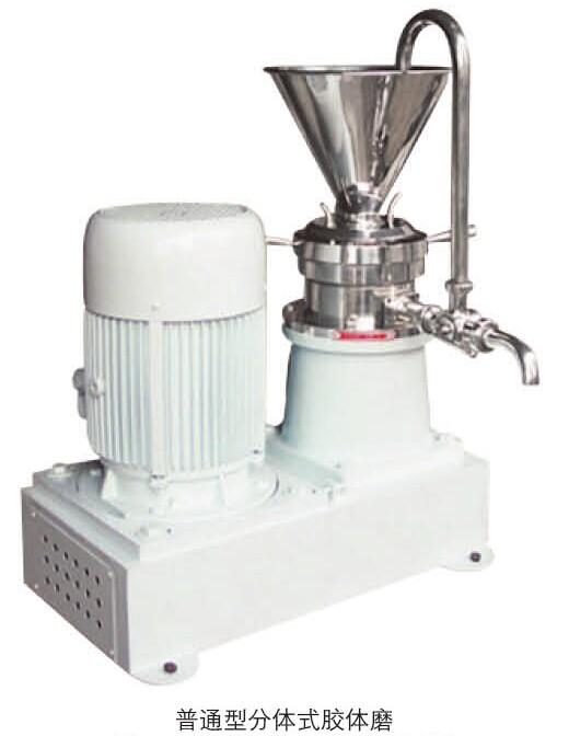 工作原理 胶体磨工作原理是剪切,研磨及高速搅拌作用。磨碎依靠两个齿形面的相对运动,其中一个高速旋转,另一个静止,使通过齿面之间的物料受到极大的剪切力及磨擦力,同时又在高频震动,高速旋涡等复杂力的作用下使物料有效的分散、乳化、粉碎、均质。 JMF/JML系列胶体磨是湿式超微粒加工的新型设备,适用于各类半流体、流体、乳状液的均质、乳化、混合、粉碎等。 胶体磨应用范围 食品工业:(芦荟、花粉破壁、菠萝、芝麻、冰淇淋、月饼馅、奶油、果酱、果汁、大豆、豆酱、豆沙、花生奶、蛋白奶、豆奶、乳制品、麦乳精、香精各种饮料